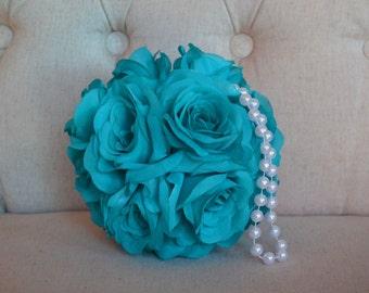 "TEAL Silk Flower Ball with Pearl Handle Pomander Kissing Ball Wedding Centerpiece Flower Girl Bridal Shower 7"" 8"" 10"""