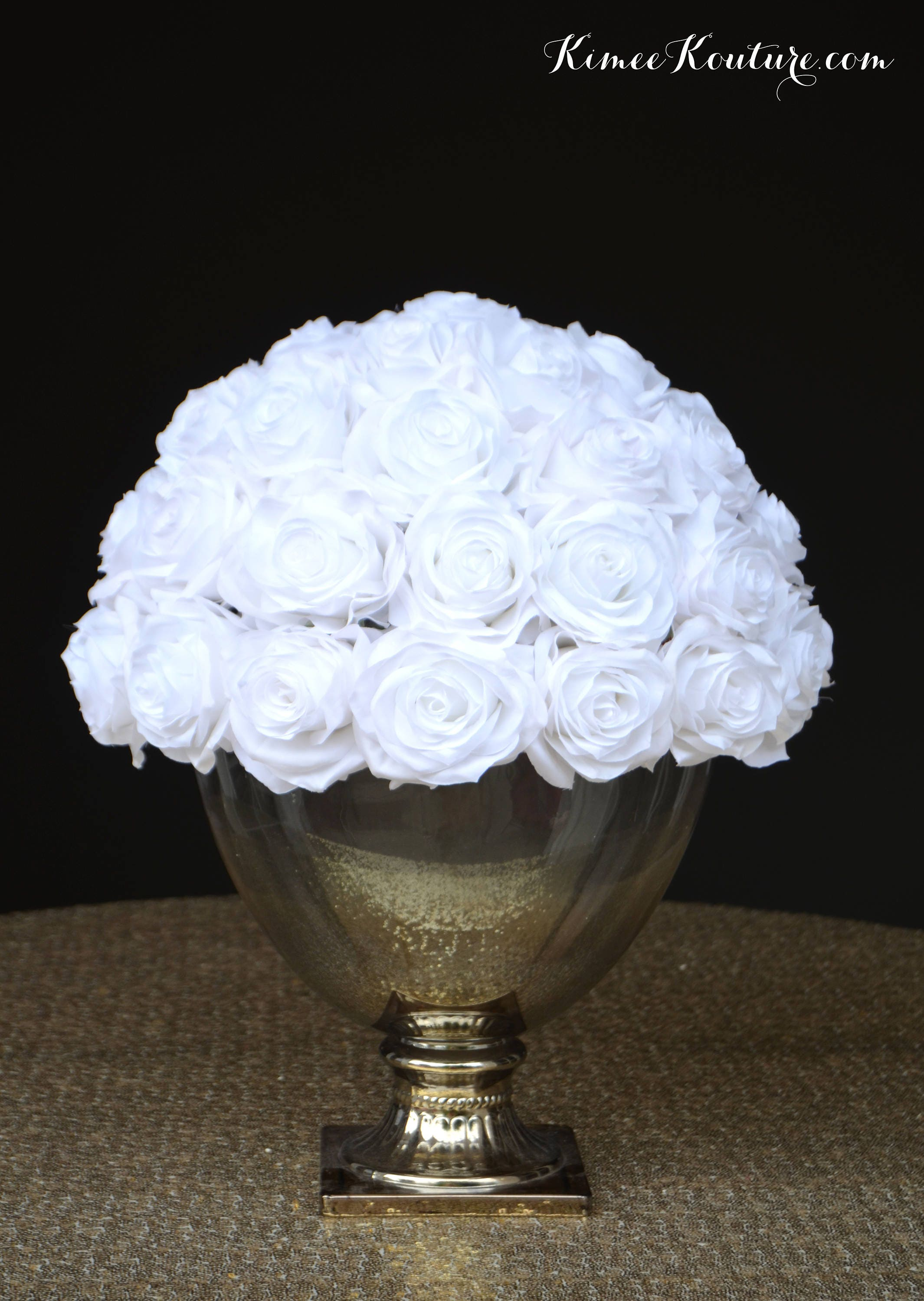 White Flower Arrangement Wedding Centerpiece Half Flower Ball Etsy
