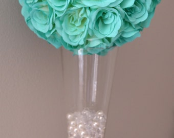 MINT, Robins Egg Blue flower ball, WEDDING CENTERPIECE, wedding pomander kissing ball, flower girl, Premium Soft Silk Roses
