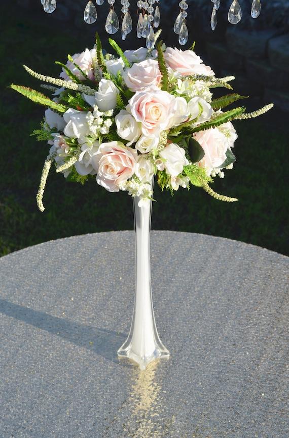 Wedding Centerpiece Set Eiffel Tower Vase With Pink Blush Etsy