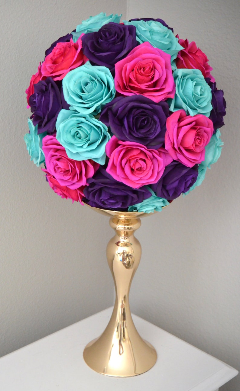 Terrific Fuchsia Turquoise Purple Flower Ball Wedding Centerpiece Kissing Ball Pomander Flower Girl Real Touch Silk Rose Ball Home Interior And Landscaping Synyenasavecom