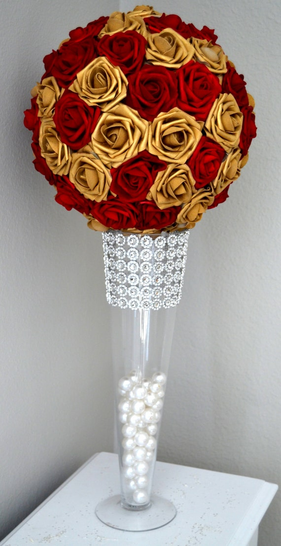 RED & GOLD Flower Ball MIX. Red And Gold Wedding Centerpiece.   Etsy