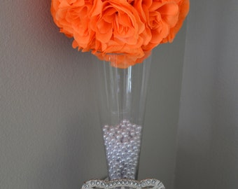 "Bright ORANGE flower ball, WEDDING CENTERPIECE, Premium Soft Silk Roses,wedding pomander kissing ball, flower girl 7"" 8"" 10"" 12 14"" 16"" 18"""