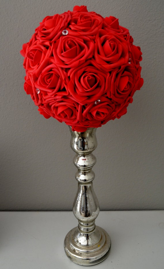 RED Flower Ball With Bling. WEDDING CENTERPIECE kissing ball | Etsy