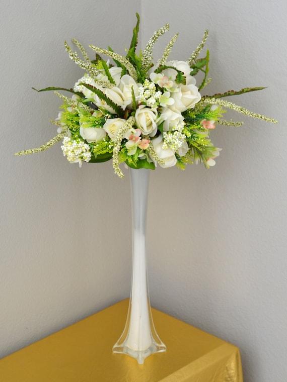 Wedding Centerpiece Set Eiffel Tower Vase And Ivory Rose Etsy
