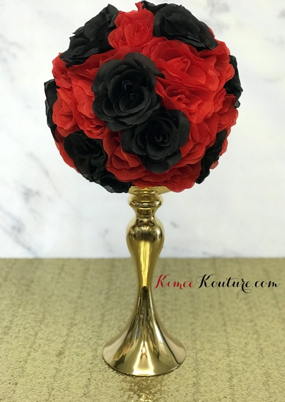 Red And Black Flower Ball Red And Black Wedding Centerpiece Red And Black Centerpiece Red And Black Pomander Pick Mix Color