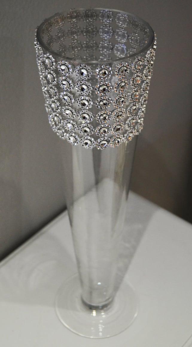 Rhinestone Trumpet Vase Wedding Centerpiece Bling Wrapped Etsy