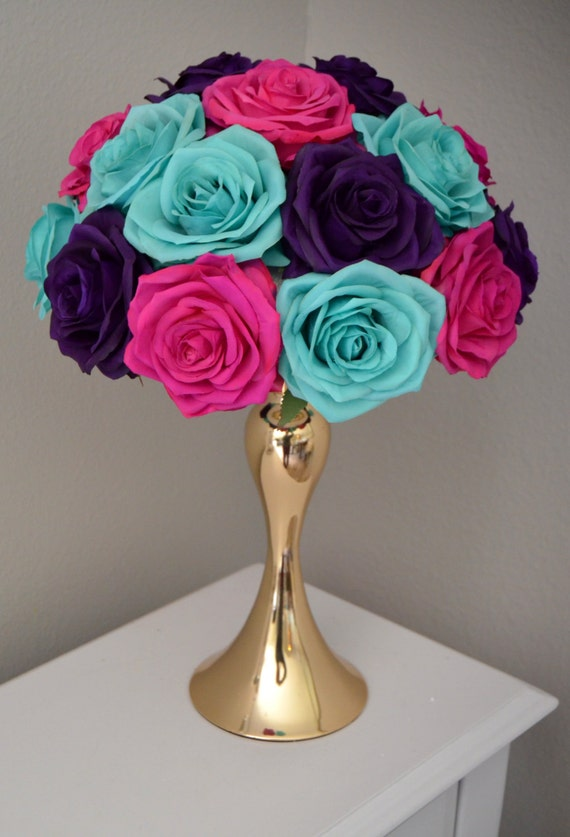 Swell Fuchsia Turquoise Purple Rose Arrangement Peacock Wedding Centerpiece Silk Garden Rose Arrangement Pick Your Color Home Interior And Landscaping Synyenasavecom