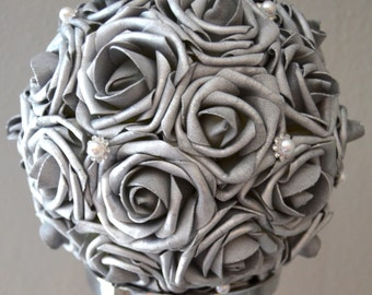"""SILVER Flower Ball  Real Touch Roses with Bling Pearl Brooch WEDDING CENTERPIECE wedding pomander kissing ball 6"""" 8"""" 10"""" 12"""" 14"""" 16"""""""