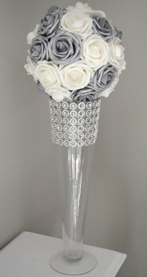 Silver And White Flower Ball Wedding Centerpiece Kissing Etsy