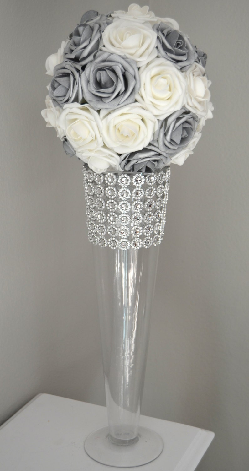 SILVER And WHITE Flower Ball Wedding CENTERPIECE kissing ...
