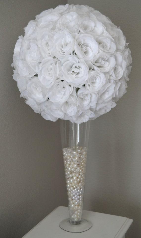 White Flower Ball Wedding Centerpiece White Pomander White Etsy