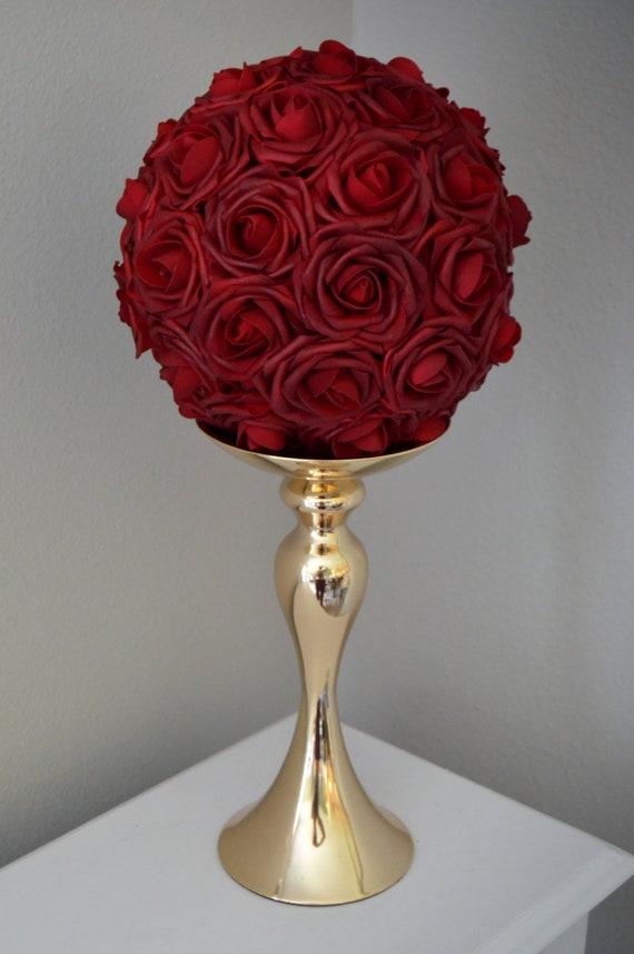 DEEP RED Rose Ball Wedding Centerpiece Deep red flower ball | Etsy