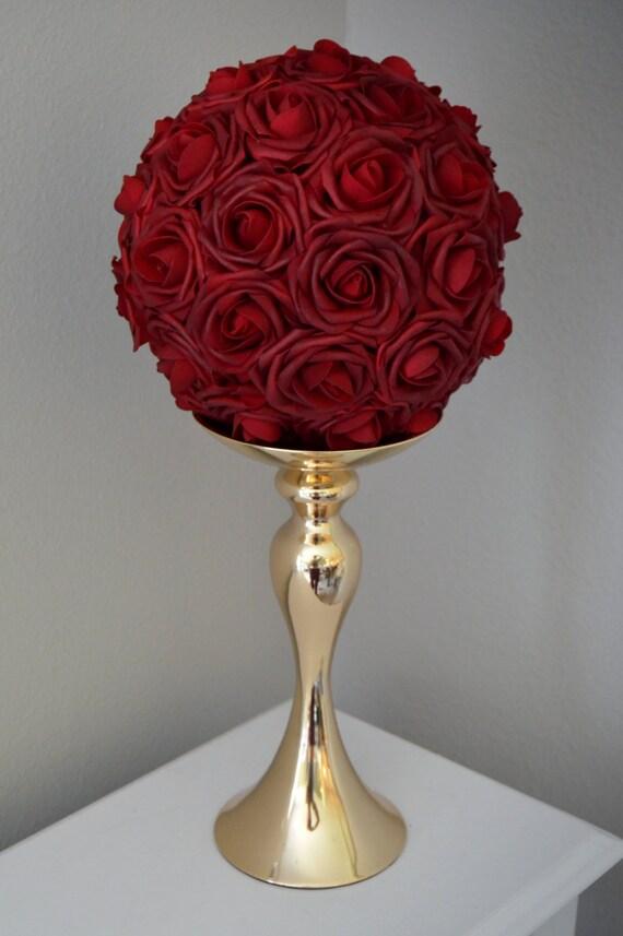 deep red rose ball wedding centerpiece burgundy flower ball etsy rh etsy com