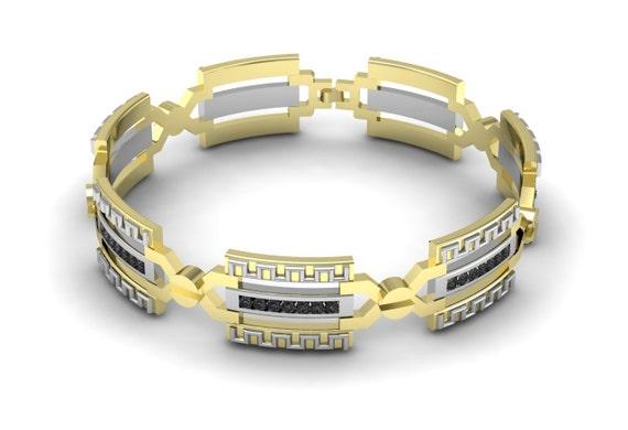 ExceptionnelleHommes t Unique Collection 2017 14k deux deux deux tons (jaune et blanc) Bracelet en or avec diamants noirs DB-011   Ingénieux Et Pratique  0b0392