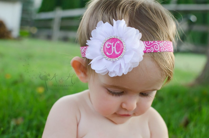 baby hair headbands accessories elastic girl pink swirl pink flower