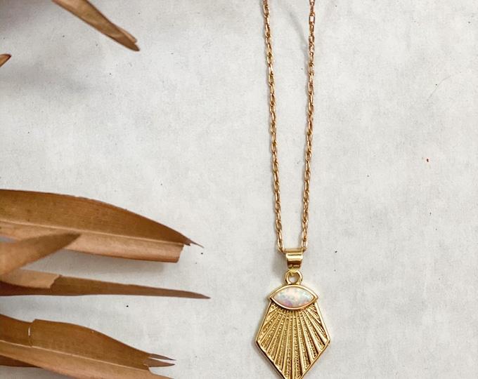 14k Opal Sunrise Necklace
