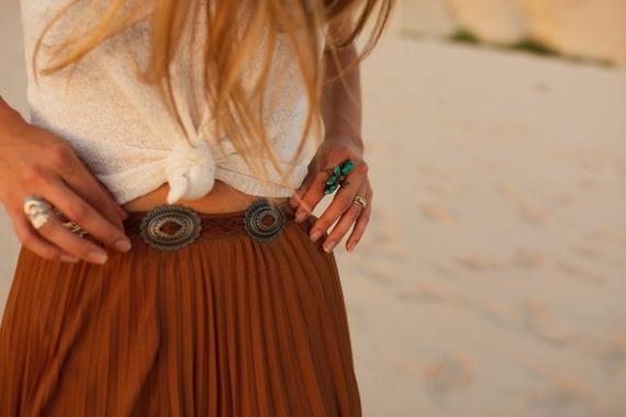 Fringe Concho Belt (Brown Leather)
