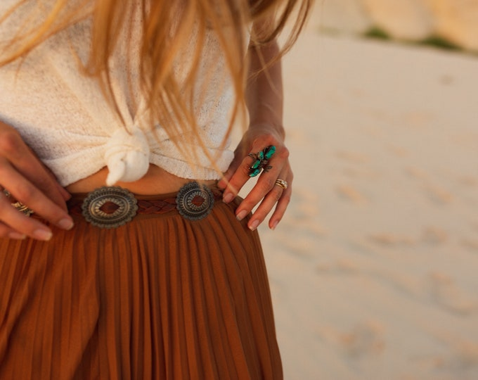 Fringe Concho Belt (white, brown, black leather)