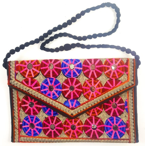 Boho Accessories. Flower Pattern Purse Handmade Pakistani Ethnic Handicrafts Ethnic Purse With Hand Sindhi Style Needle Embroidery