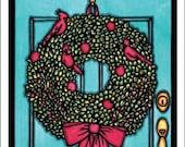 Blank Greeting Card: Wreath by Sarah Angst Art (Holiday Card)