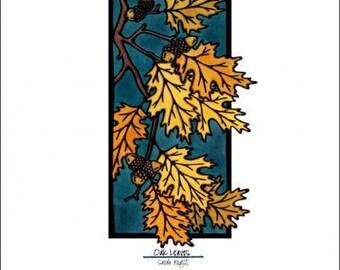 "Autumn Oak Leaves - 8""x10"" Unframed Giclee Print"