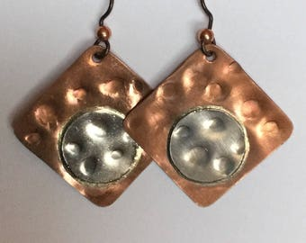 Copper and Sterling Silver Mixed Metal Earrings