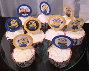 ONE WEEK SALE! - 12 Minion Cupcake Toppers