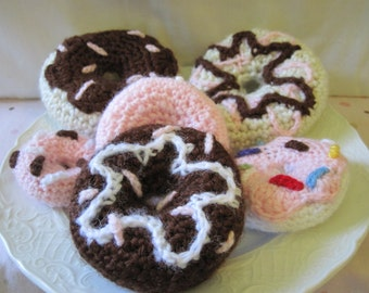 Crochet Donut, amigurumi playfood, plush doughnut w/ chocolate, strawberry, or vanilla frosting and sprinkles