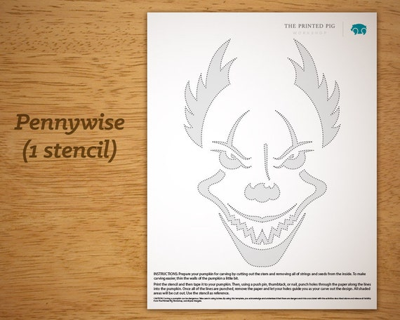 Exclusive Printable Pumpkin Carving Pattern Pennywise The Etsy