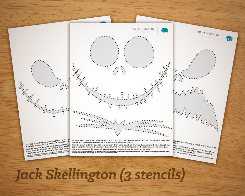 Printable Pumpkin Carving Pattern: Jack Skellington Nightmare | Etsy