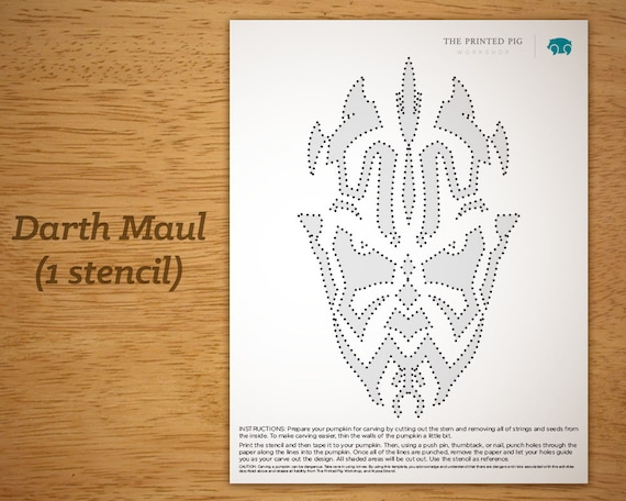 Printable Pumpkin Carving Pattern Star Wars Darth Maul