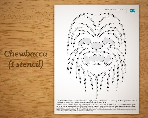 Printable Pumpkin Carving Pattern: Star Wars Chewbacca