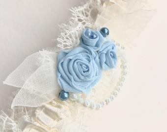 Bridal garter with blue flowers, lace wedding garter, ivory and sky blue garter, floral wedding accessory, luxury garter bridal shower gift