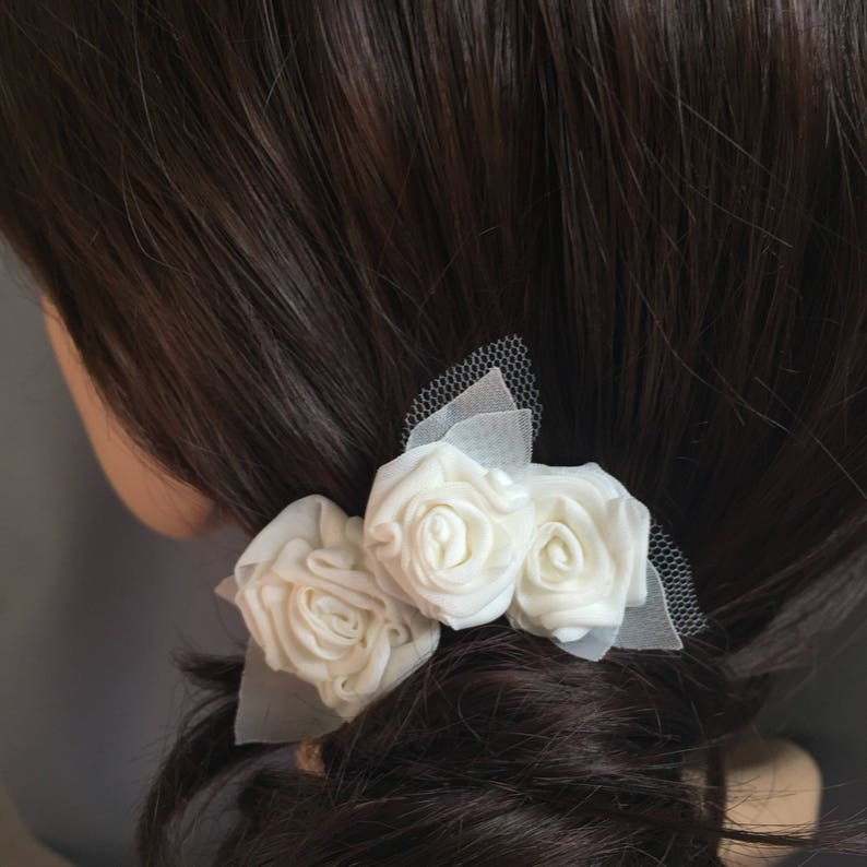 Bridal hair pins ivory roses and leaf hair accessories image 0