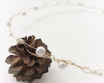 Gold circlet with pearl beads, ivory bridal halo, boho wedding hair accessories, silver circlet, rustic hair vine bridal
