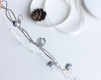 Silver crystal bridal halo crown, simple crystal wedding headpiece, bridesmaids circlet, silver wedding hair accessories, crystal wreath