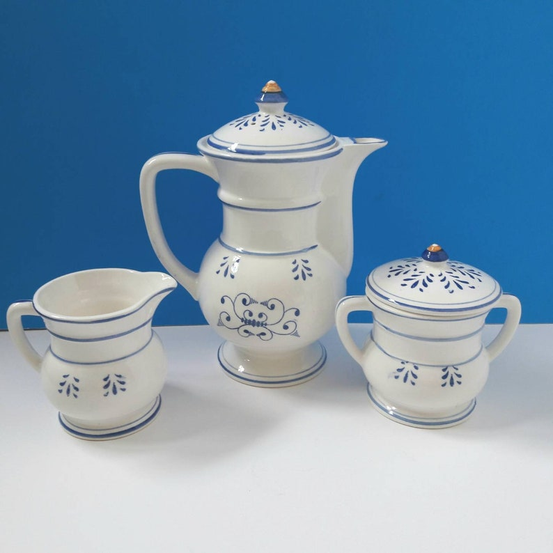 Sugar Bowl And Creamer Mid Century China Vintage Royal Sealy Japan Coffee Pot Retro Serving. Heritage Collection By Royal Sealy