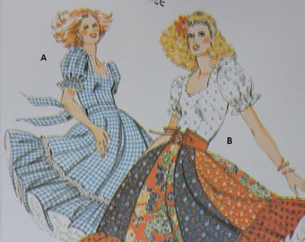 2683557bd5fae Full Circle Skirt Square Dance Dress in Two Styles Square Neckline Puff  Sleeves Kwik Sew 913 Sewing Western Vintage Pattern Size 6 - 12