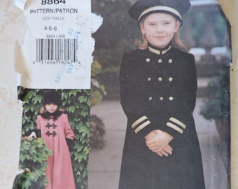 UNCUT Vintage Little Vogue Girl/'s Double Breasted Long A-Line Coat w 3 Collar /& Sleeve Detail Options 3 Hat Choices Size 7-10 Pattern 8864