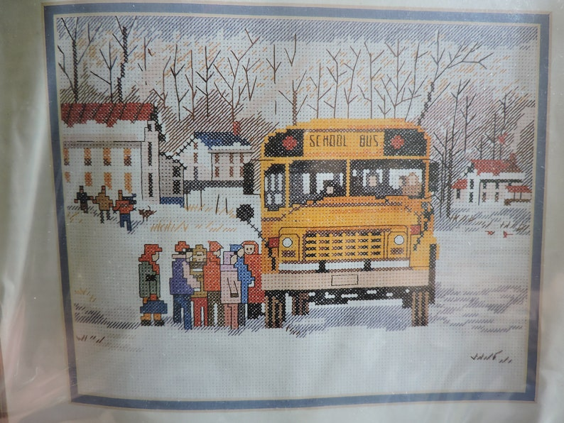 02645 Needle Treasures Kit Family Values The Bus Is Here Cross Stitch Design Weekday Morning Needlepoint KIT Counted Cross Stitch Kit No