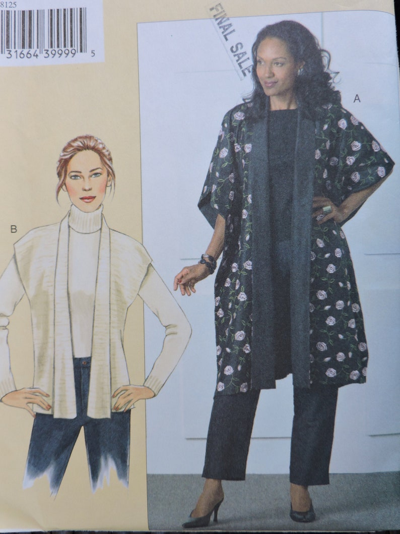 Loose Fitting Reversible Toppers Sandra Betzina Afternoon and Fun Wear Varied Lengths Vogue 8125 UNCUT Sewing Pattern Bust Sizes 48 to 55
