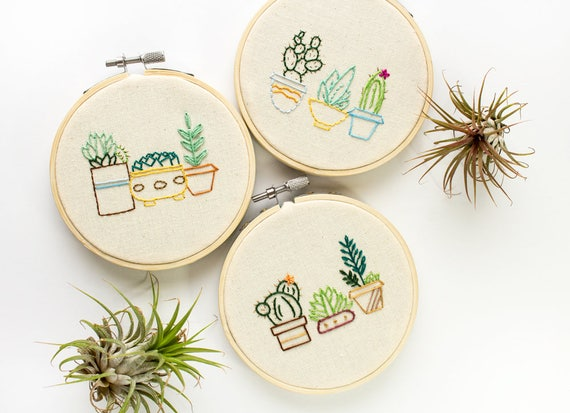 Cacti Embroidery Cactus Embroidery Hoop Art New Home Etsy