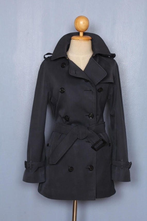 BURBERRY Trench Coat Womens 1739  Navy Blue US 0