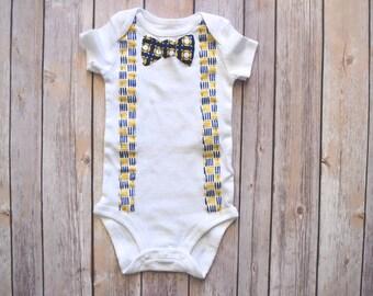 c5bdb94a9b692 Bowtie & Suspenders Onesie   Boy   Navy and Yellow   Applique