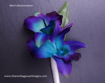 Purple/teal/blue, bom/galaxy, orchid, buttonhole/boutonniere, dendrobium, silk/artificial, prom, wedding, Groom, Groomsmen, Bestman