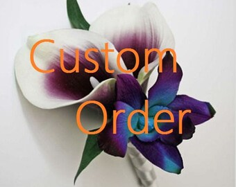 Wedding, bouquet, PACKAGE, purple, blue/aqua/teal/turquoise, orchids, Picasso/calla lilies, dendrobium, Real Touch flowers, silk