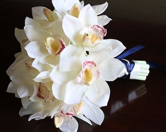 Ivory, cream, offwhite, Real Touch flowers, silk wedding flowers: Bridal bouquet with Cymbidium orchids