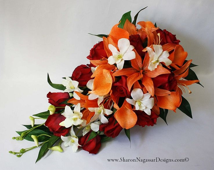 Red Orange Off White Cascade Cascading Bouquet Real Touch Etsy