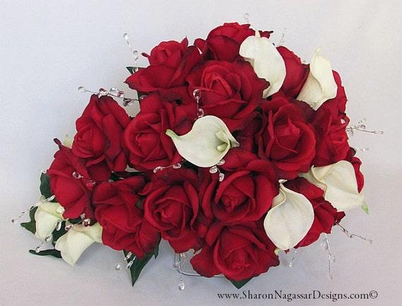 Bouquet De Mariee Cascade Cascade Rouge Blanc Ivoire Etsy